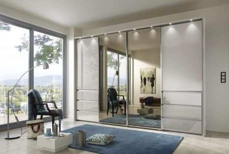 WIEMANN Malibu 4 doors Sliding Wardrobe with Front in Champagne Glass comes with 6 Drawers