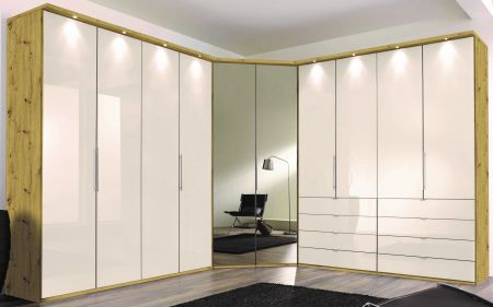 WIEMANN LOFT 10 Door Functional wardrobes with bi-fold-panorama doors Champagne Glass Front and Bianco Oak Carcase with 6 drawers