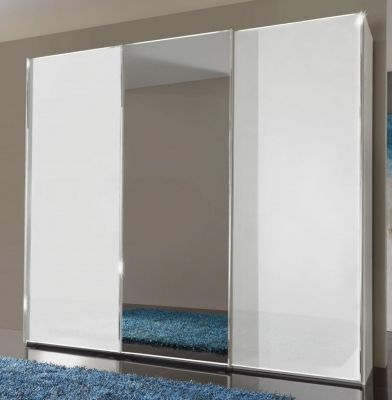 WIEMANN Malibu 3 doors Sliding Wardrobe with Front in White Glass comes with Center Mirrored Door