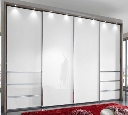 WIEMANN Malibu 4 doors Sliding Wardrobe with Front in White Glass comes with 6 Drawers