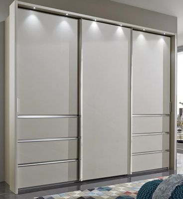 WIEMANN Malibu 3 doors Sliding Wardrobe with Front in Champagne Glass and it also comes with 6 Drawers