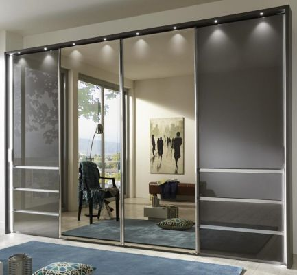 WIEMANN Malibu 4 doors Sliding Wardrobe with Front in Graphite Glass comes with 6 Drawers