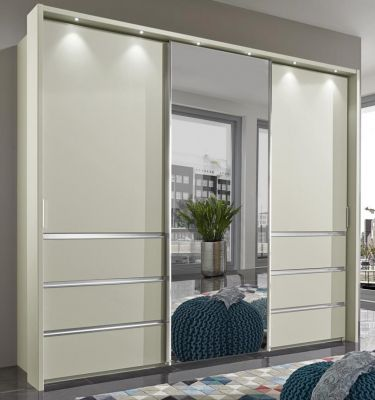 WIEMANN Malibu 3 doors Sliding Wardrobe with Front in Champagne  Finish also comes with 6 Drawers