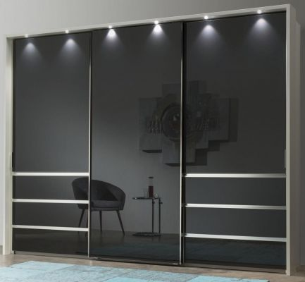 WIEMANN Malibu 3 doors Sliding Wardrobe with Front in Graphite Glass comes with 6 Drawers left