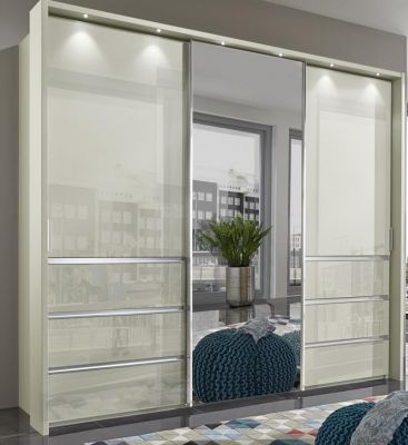 WIEMANN Malibu 3 doors Sliding Wardrobe with Front in Champagne Glass comes with 6 Drawers