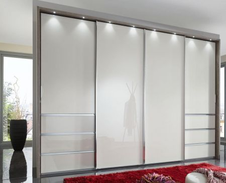 WIEMANN Malibu 4 doors Sliding Wardrobe with Front in Champagne Glass comes with 6 Drawers Left and Right
