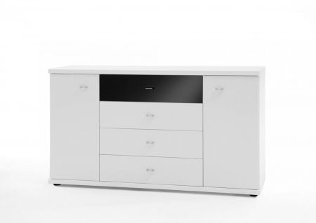 WIEMANN Miro Combination dresser with 4 large drawers in White finish with Top drawer in Black Glass