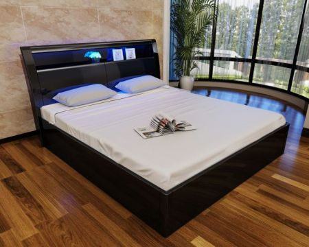 Madrid Black High Gloss Storage Bed (With 16 Colour LED Lights)
