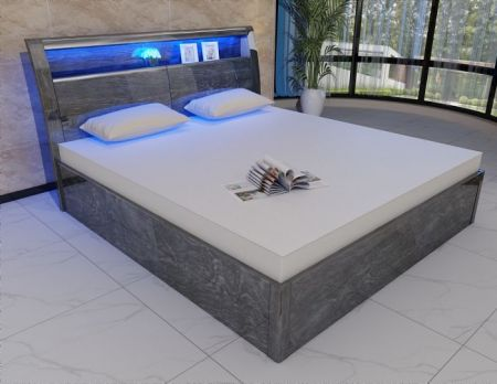 Madrid Grey High Gloss Storage Bed (With 16 Colour LED Lights)