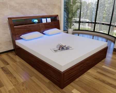 Madrid Walnut High Gloss Storage Bed (With 16 Colour LED Lights)