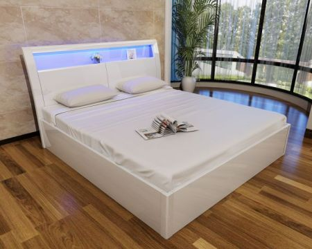 Madrid White High Gloss Storage Bed (With 16 Colour LED Lights)