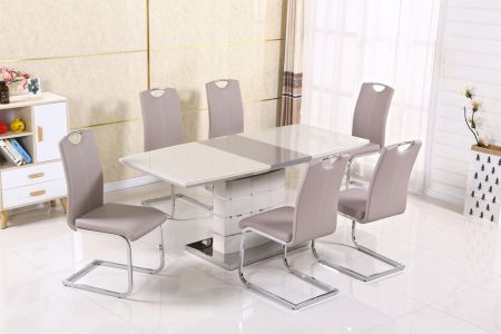 Milan Cappuccino Extending Dining Table