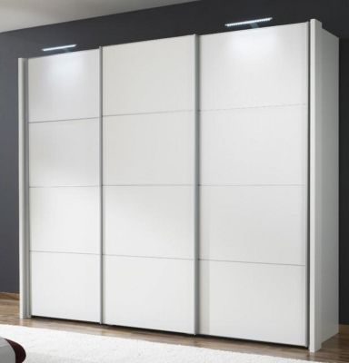 WIEMANN Miami 3 doors Sliding Wardrobe with Front in 3 White Wooden Doors with 4 panels