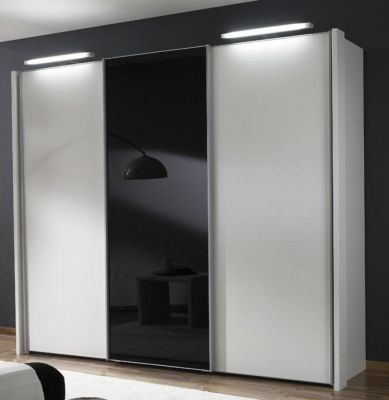 WIEMANN Miami 3 doors Sliding Wardrobe with Front in White Glass with center in Black Glass Door with Side Profile and 2 LED Lights