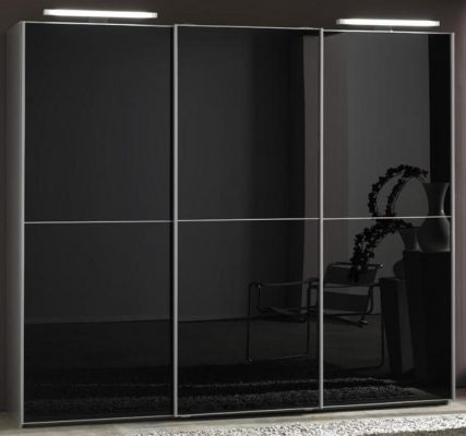 WIEMANN Miami 3 doors Sliding Wardrobe with Front in Black Glass Doors with 2 Front Panels and 2 LED Lights