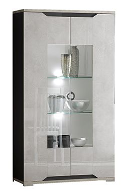 San Martino Mistral High Gloss 2 Door Glass Display Cabinet With LED