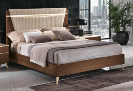Saltarelli Emozioni Walnut Bed With Narrow Upholstered Headboard, Sides and Footboard in Wood