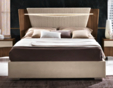 Saltarelli Emozioni Walnut Bed With Narrow Upholstered Headboard and Upholstered Sides