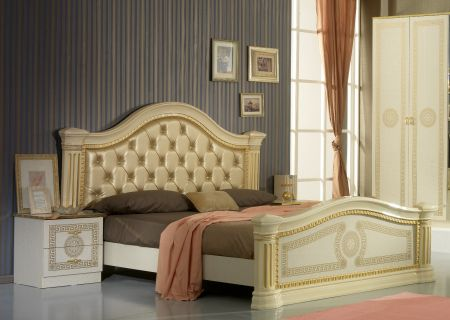 Ben Company New Serena Beige & Gold Padded Headboard Bed