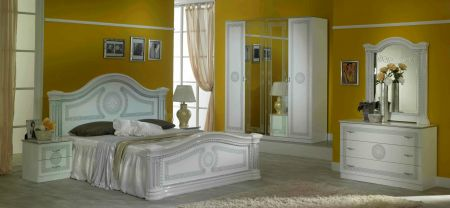 Ben Company New Serena White & Silver Bed Room Group with 6 Door Wardrobe