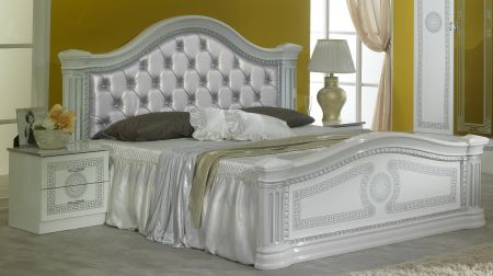 Ben Company New Serena White & Silver Padded Headboard Bed