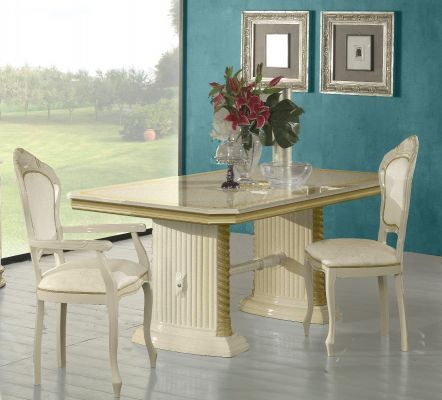 Ben Company New Venus Beige& Gold Dining Set with Rectangular Table