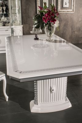 New Venus White & Silver Ext- Dining Table