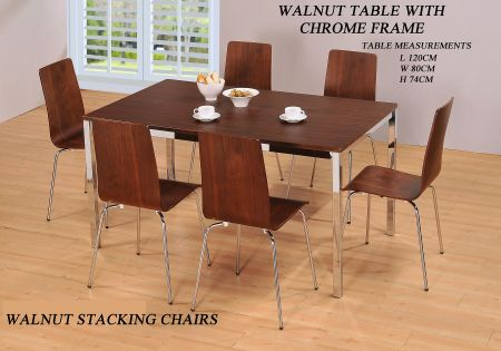 Walnut Rectangle Set With Four Chairs