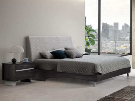 Status New Star Italian Bed Frame In Burnt Oak With Ecoleather Headboard