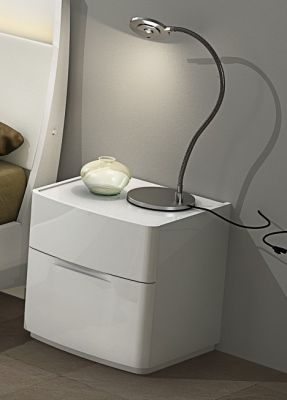 Eleanor White High Gloss Night Stand