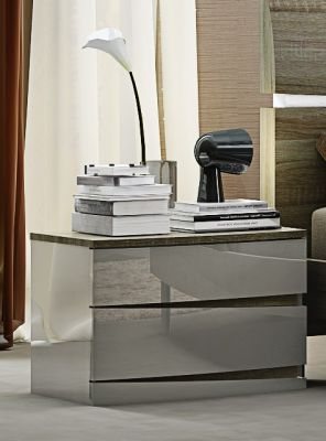 Hayley Cashmere High Gloss and Havana Oak Night Stand