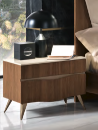 Saltarelli Emozioni Walnut Night Stand With Marble Top and Wooden Drawers