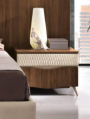 Saltarelli Emozioni Walnut Night Stand With Wooden Top and Upholstered Drawer