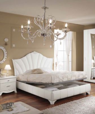 Saltarelli Giulia White Ottoman Bed with Upholstered sides and headboard.