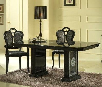 Ben Company Venus Black-Silver Oval Extendable Table