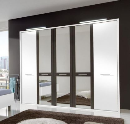 WIEMANN Portland Hinged 5 Door Wardrobe with Outer doors in White colour and mirrored doors in Havana highlight colour