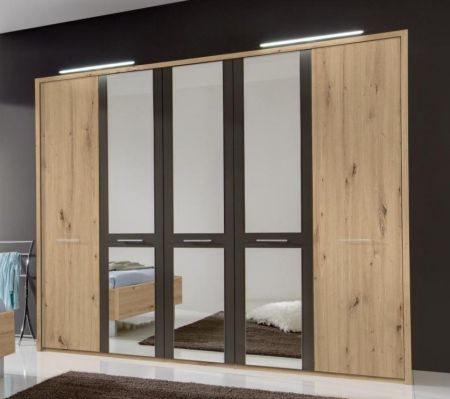 WIEMANN Portland Hinged 5 Door Wardrobe with Outer doors in Bianco oak colour and mirrored doors in Havana highlight colour