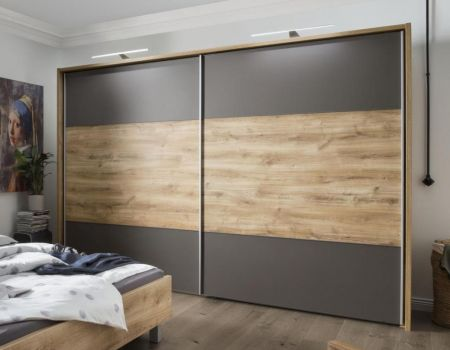 WIEMANN Portland 2 Door Sliding Wardrobe with Front with cross-trim in highlight Bianco Oak colour with Passe Partout