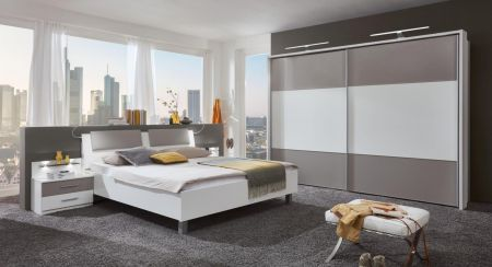 WIEMANN Portland 2 Door Sliding Wardrobe with White Finish and Highlights in Pebble Grey Finish