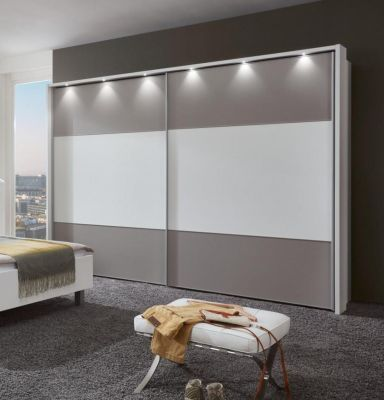 WIEMANN Portland 2 Door Sliding Wardrobe with White Finish and Highlights in Pebble Grey Finish with Passe Partout with Lights