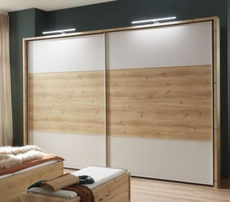 WIEMANN Portland 2 Door Sliding Wardrobe with Bianco oak Finish and Highlights in White with Passe Partout with Lights