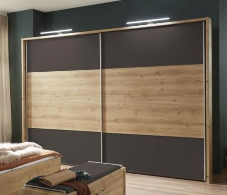 WIEMANN Portland 2 Door Sliding Wardrobe with Bianco oak Finish and Highlights in Havana with Passe Partout with Lights