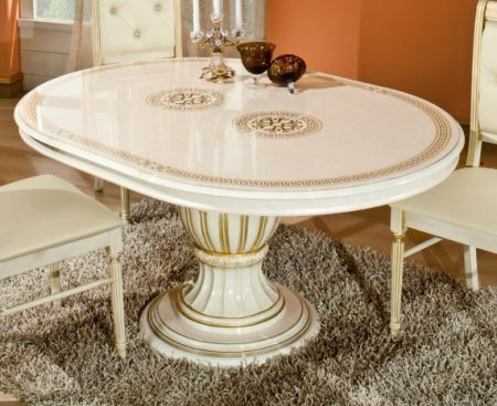 H2O Design Rossella Beige Radica-Gold Round Extendable Table