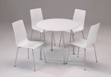 Dove Round Set With Four Chairs