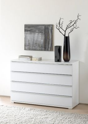 STAUD Rubin 4 Drawer Chest with White Body and Alpine White Glass Front
