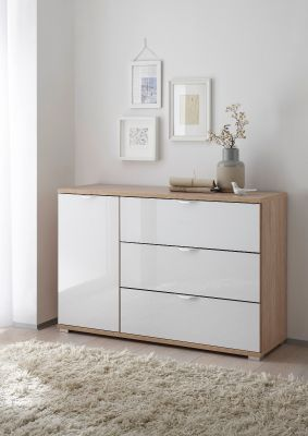 STAUD Rubin 3 Drawer Chest and Left Door with Sonoma Oak Body and Alpine White Glass Front