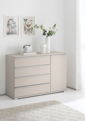 STAUD Rubin 4 Drawer Chest and Left Door with Decor Sand Body and Sand Front