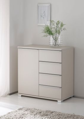 STAUD Rubin 4 Drawer Combination Chest and Left Door with Decor Sand Body and Sand Glass Front
