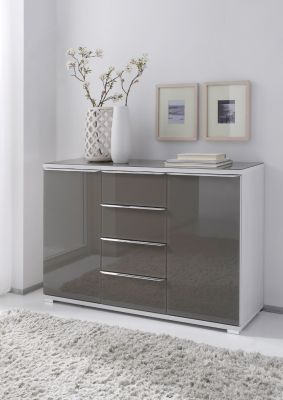 STAUD Rubin 4 Drawer Combination Chest with 2 Doors in Decor White Body and Anthracite Glass Front