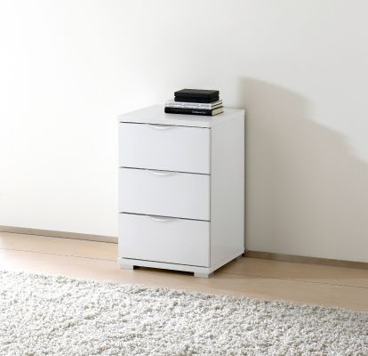 STAUD Rubin 3 Drawer Bedside table with Decor White Body and Front